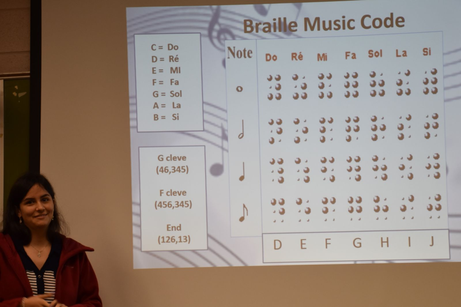 Student presenting on Music Braille Code