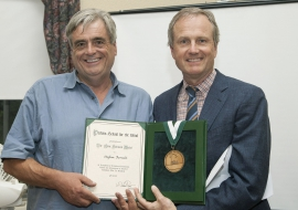 Steve Perreault and Dave Power with the medal and certificate